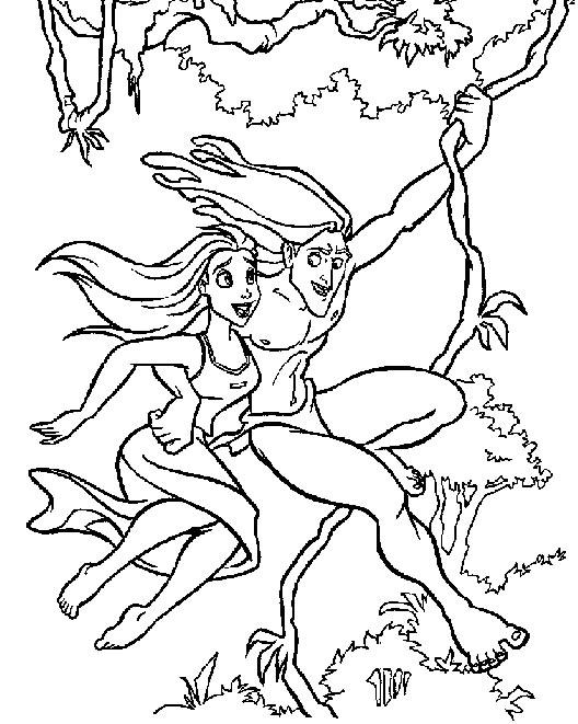 Coloriage Tarzan Et Jane Sur Une Liane Coloriages Le Roi Lion